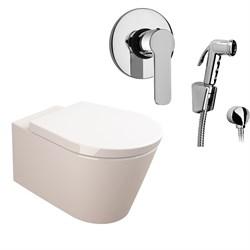 Комплект  3 в 1 N111661arona: подвесной унитаз  GLAM  с сиденьем  (микролифт) и гигиенический душ ARONA (PAINI, Италия) - фото 11954