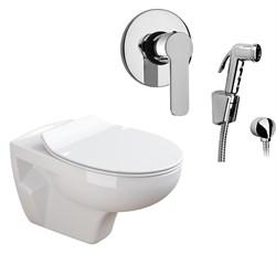 Комплект  3 в 1 N555661arona: подвесной унитаз  MUNIQUE  с сиденьем  (микролифт) и гигиенический душ ARONA (PAINI, Италия) - фото 11990