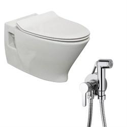 Комплект  3 в 1 N777661aosta: подвесной унитаз  POP ART с сиденьем  (микролифт) и гигиенический душ AOSTA (PAINI, Италия) - фото 12059