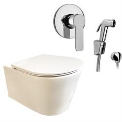 Комплект  3 в 1 N333661arona: подвесной безободковый унитаз  GLAM  с сиденьем  (микролифт) и гигиенический душ ARONA (PAINI, Италия) - фото 12082
