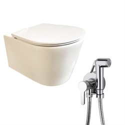 Комплект  3 в 1 N333661aosta: подвесной безободковый унитаз  GLAM  с сиденьем  (микролифт) и гигиенический душ AOSTA (PAINI, Италия) - фото 12091