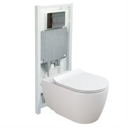 Комплект 4в1 Coral S111661: подвесной  унитаз, сиденье мкр.лифт, инсталляция, панель Slim, хром - фото 12227