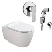 Комплект  3 в 1 N444661arona: подвесной унитаз  CORAL  с сиденьем  (микролифт) и гигиенический душ ARONA (PAINI, Италия)