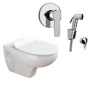 Комплект  3 в 1 N555661arona: подвесной унитаз  MUNIQUE  с сиденьем  (микролифт) и гигиенический душ ARONA (PAINI, Италия)