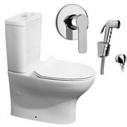 Комплект  3 в 1 NC777661arona: унитаз-компакт  POP ART с сиденьем  (микролифт) и гигиенический душ ARONA (PAINI, Италия)