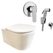 Комплект  3 в 1 N333661arona: подвесной безободковый унитаз  GLAM  с сиденьем  (микролифт) и гигиенический душ ARONA (PAINI, Италия)